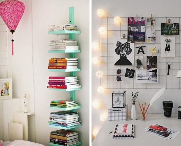 Decoração com livros e revistas